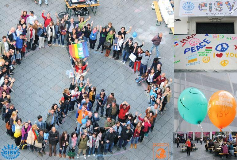 Das Friedenszeichen in Wien für den Peace One Day 2011
